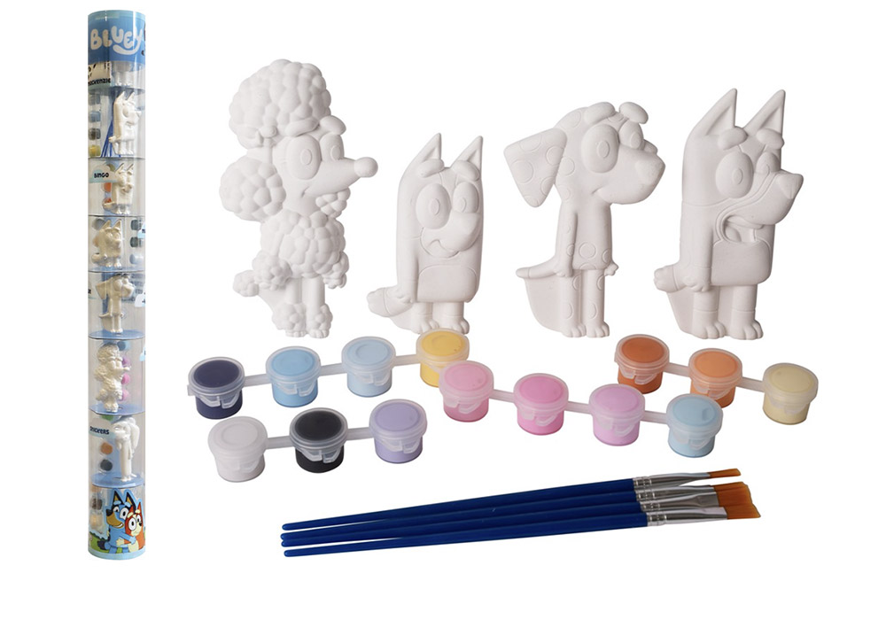 www.hunterleisure.com.au Bluey Paint Your Own 2D Characters Plaster Tube 8 Pack Big W Hunter Leisure